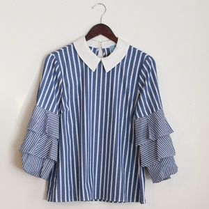 NEW CeCe Striped Collared Top with Ruffle Sleeves